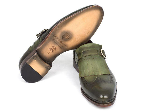 Paul Parkman Men's Wingtip Monkstrap Brogues Green Hand-Painted Leather Upper With Double Leather Sole (ID#060-GREEN) - Alluforu
