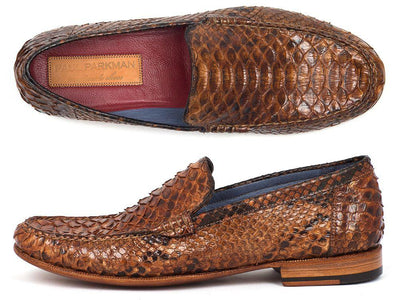 Paul Parkman Men's Genuine Python Moccasins Brown & Tobacco (ID#YL41UT) - Alluforu