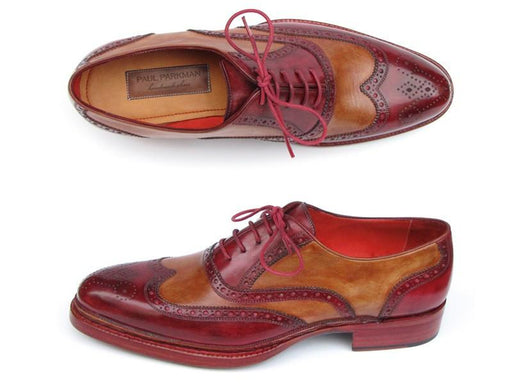 Paul Parkman Men's Triple Leather Sole Wingtip Brogues Bordeaux & Camel (ID#027-TRP-CMLBRD) - Alluforu