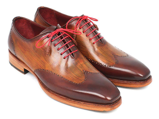 Paul Parkman Men's Wingtip Oxford Goodyear Welted Brown & Camel (ID#81BRW74) - Alluforu