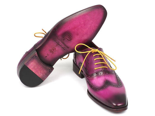 Paul Parkman Men's Wingtip Oxfords Lilac Handpainted Calfskin (ID#228-LIL) - Alluforu