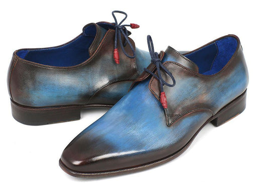 Paul Parkman Blue & Brown Hand-Painted Derby Shoes (ID#326-BLUBRW) - Alluforu