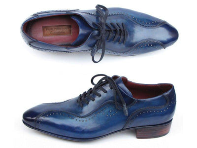 Paul Parkman Handmade Lace-Up Casual Shoes For Men Blue (ID#84654-BLU) - Alluforu
