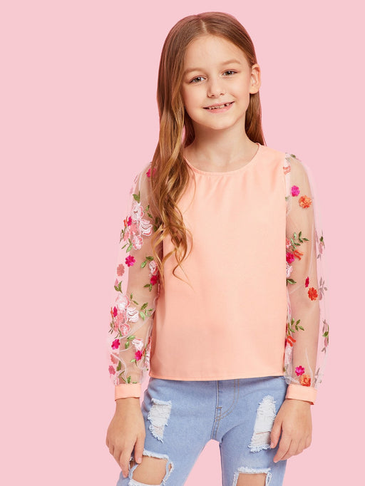 Girls Mesh Floral Embroidered Keyhole Back Top - Alluforu