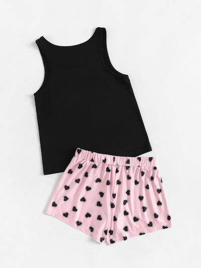 Girls Letter Print Tank & Love Shorts PJ Set