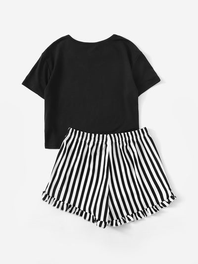 Girls Letter Print Top & Striped Shorts PJ Set
