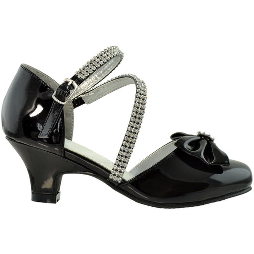 Toddler & Youth Rhinestone Bow Pump - Alluforu