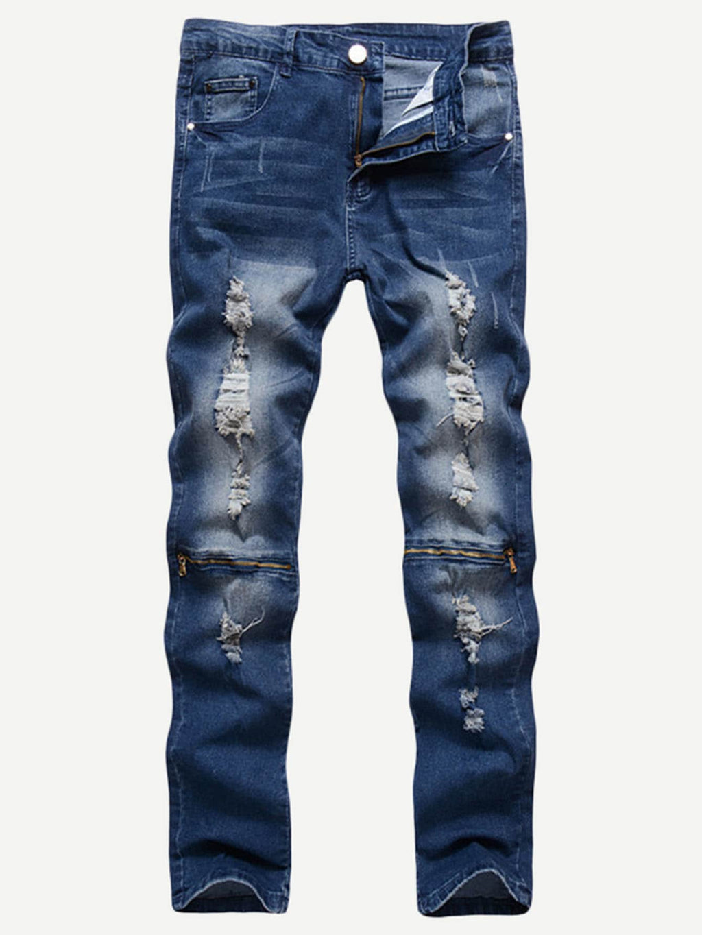 Men Zip Decoration Destroyed Jeans