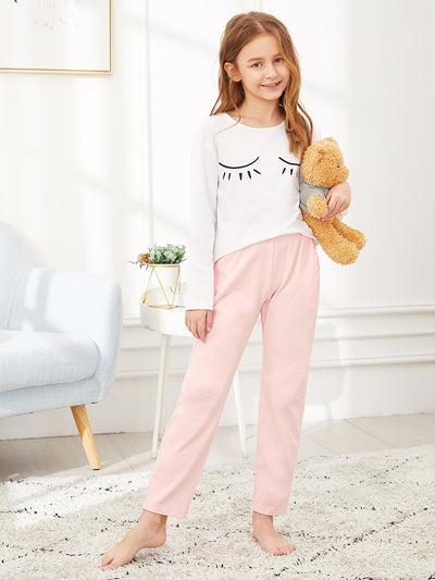Girls Graphic Tee & Contrast Pants PJ Set