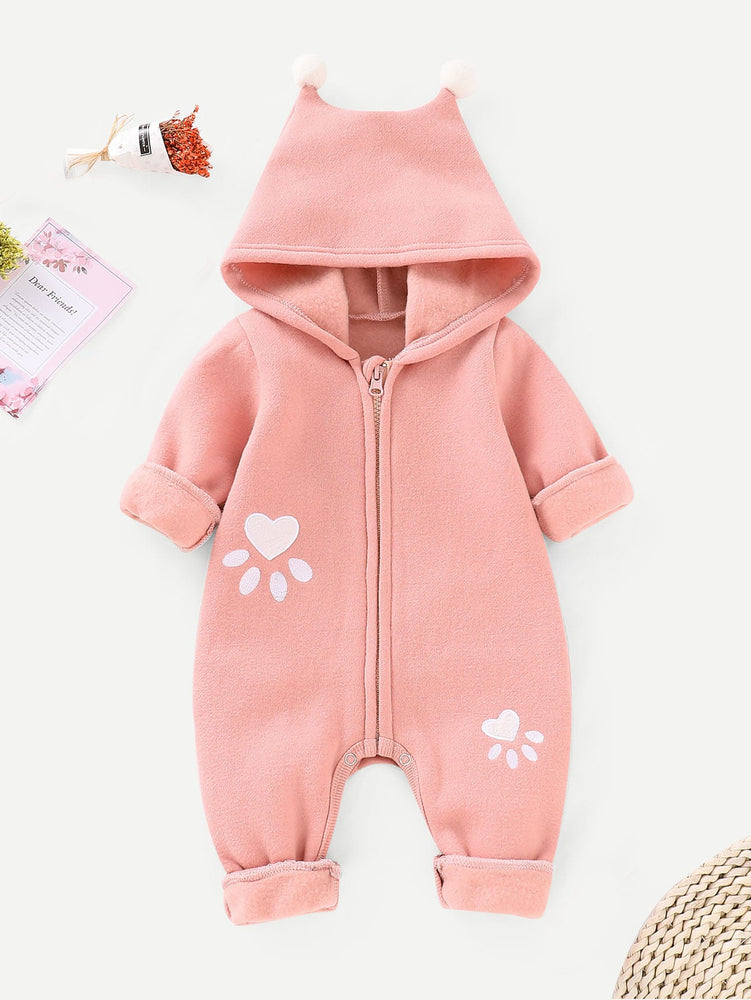 Baby Pom Pom Detail Cartoon Print Hooded Jumpsuit