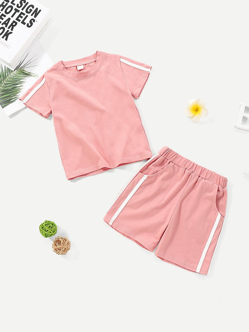Toddler Girls Contrast Tape Tee With Shorts