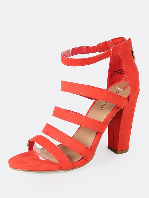 Strappy Vegan Suede Ladder-Up Chunky Heel