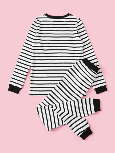 Toddler Girls Letter Print Striped Top With Pants