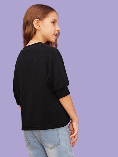 Girls Button Detail Solid Top
