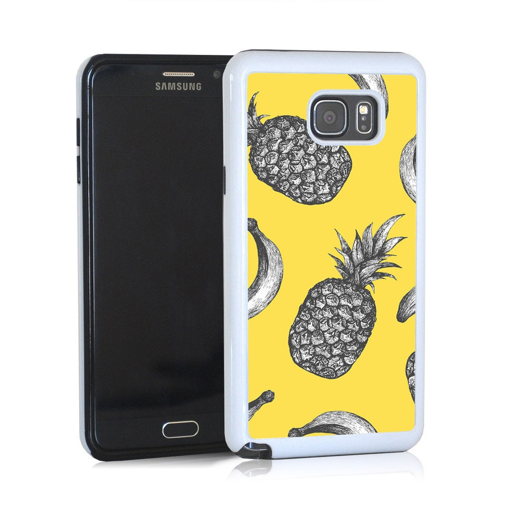 Vintage black and white pineapple and bannana on yellow for Note 5