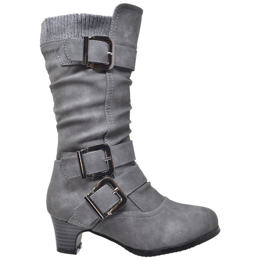 Toddler & Youth Strappy Buckle Heeled Mid Calf Boot - Alluforu