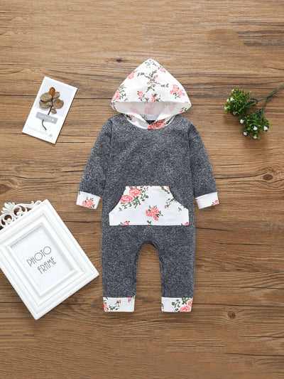 Baby Floral Print Pocket Detail Hooded Jumpsuit