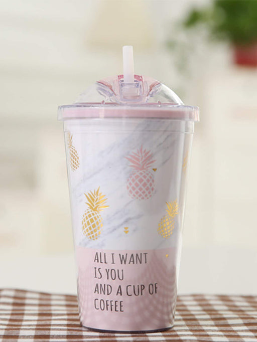 Pineapple & Slogan Straw Cup 450ML