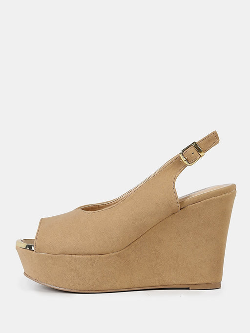 Nubuck Peep Toe Sling Back Wedge Sandal TAN