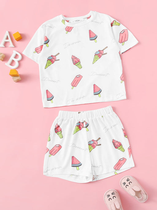 Girls Ice Cream & Popsicle Print Top & Shorts Set