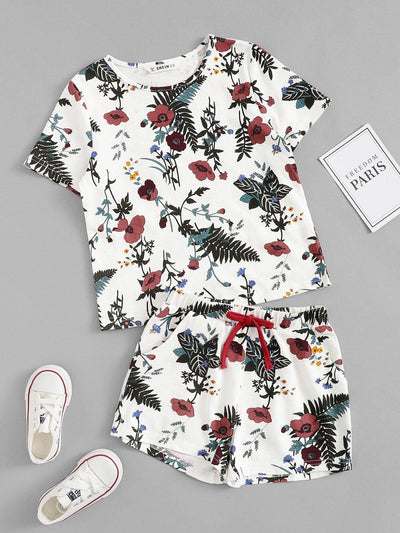 Girls Botanical Print Top & Drawstring Shorts Set