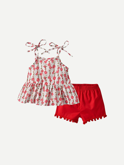 Toddler Girls Floral Print Cami Top With Fringe Shorts
