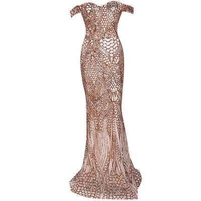 Gold Off Shoulder Evening Gown - Alluforu