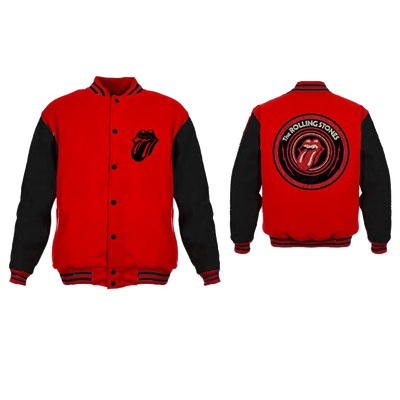 Rolling Stones Tongue Logo - Mens Red/Black Varsity Jacket - Alluforu
