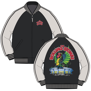 Rolling Stones Dragon Stadium - Mens Black Varsity Jacket - Alluforu