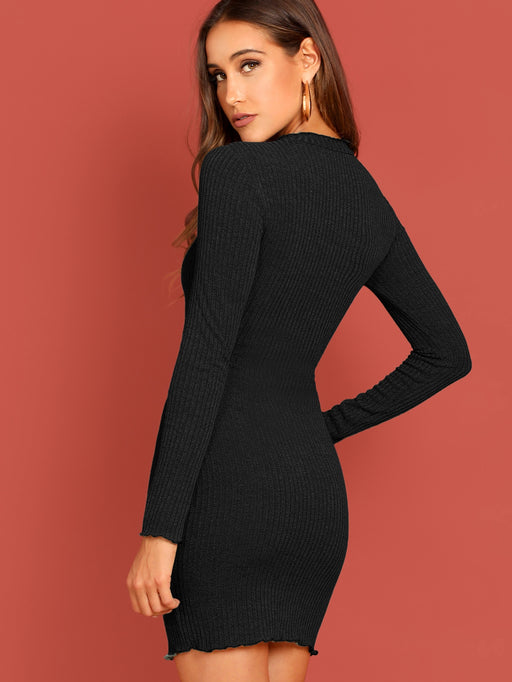 Lettuce Trim Rib Knit Bodycon Dress - Alluforu