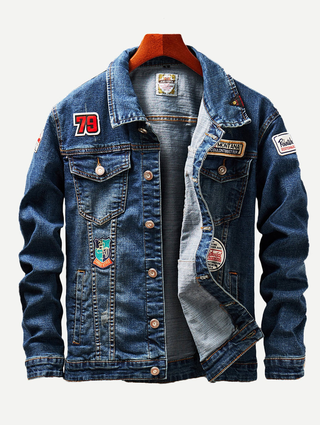 Men Patched & Ripped Detail Wash Denim Jackets