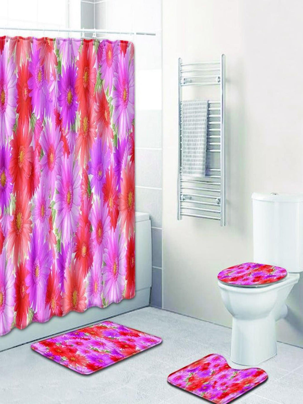 Floral 12hooks Shower Curtain & 3pcs Rug
