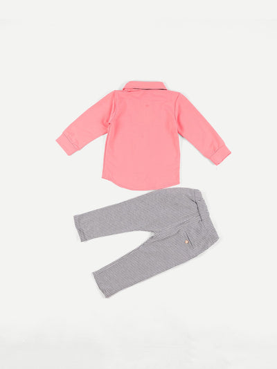 Toddler Boys Bow Front Solid Shirt & Striped Pants