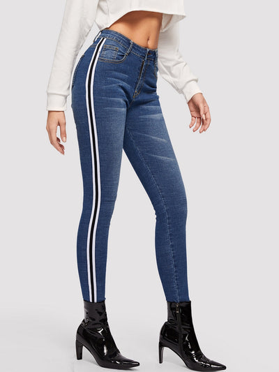 Bleach Wash Striped Skinny Jeans