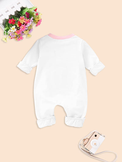 Baby Cartoon And Letter Print Romper