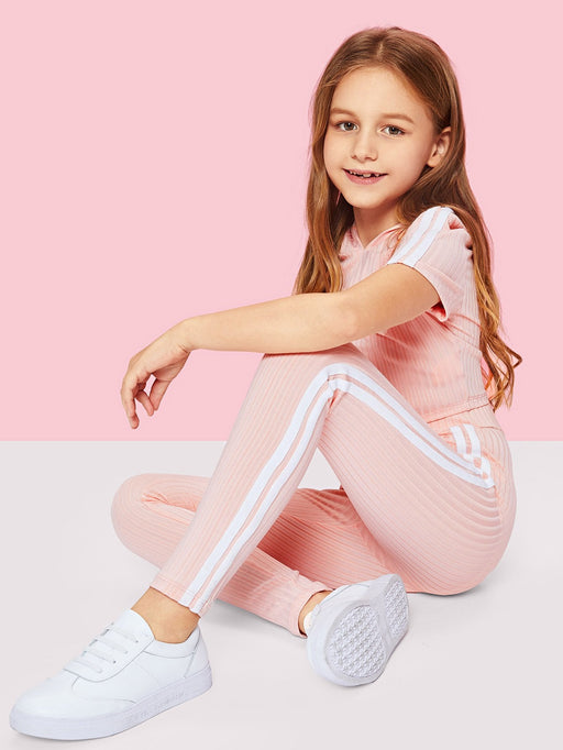 Girls Stripe Side Ribbed Knit Hoodie and Pants Set - Alluforu