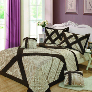 Classic Elegant Velvety Ribbons Decorative Embellished Quilted Coverlet Bedspread Set (YG1024Beige)
