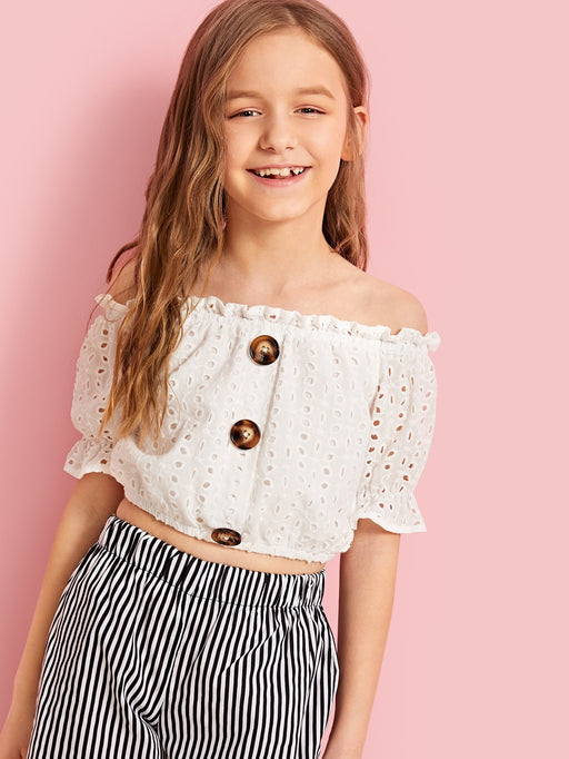 Girls Button Detail Embroidered Eyelet Bardot Top - Alluforu