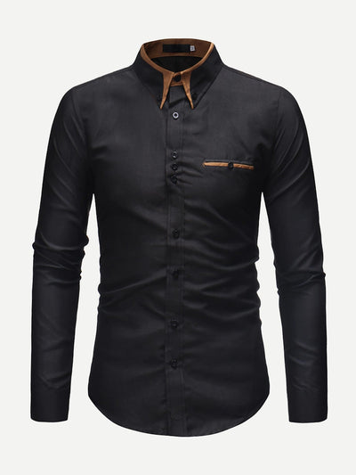 Men Contrast Neck Long Sleeve Shirt