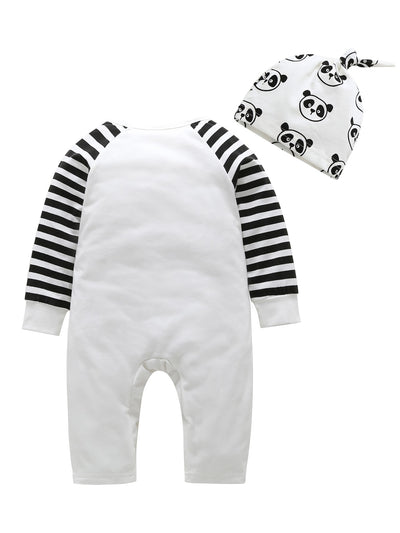Toddler Boys Panda Print Contrast Striped Sleeve Jumpsuit With Hat