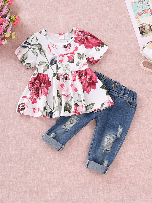 Toddler Girls Floral Print Blouse With Ripped Jeans
