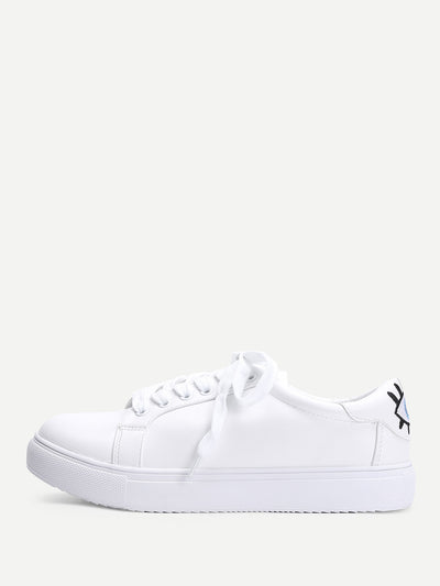 Eye Embroidery Lace Up Slip On Sneakers - Alluforu