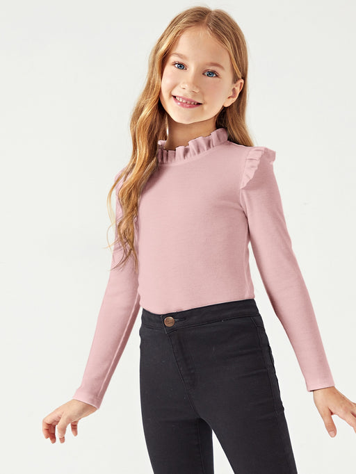 Girls Frilled Trim Rib-knit Top