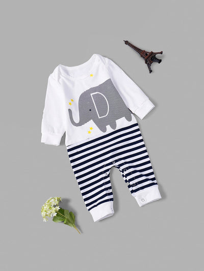 Toddler Boys Elephant Print Striped Jumpsuit