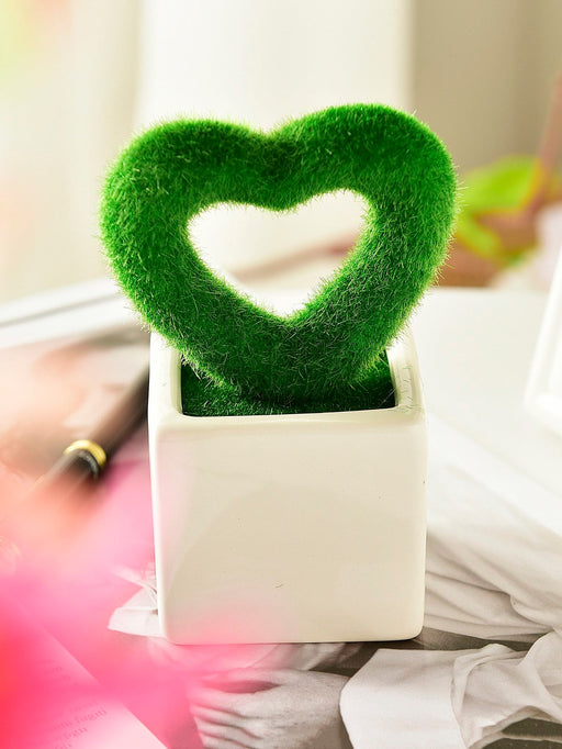 Open Heart Shaped Artificial Plant With Ceramic Pot