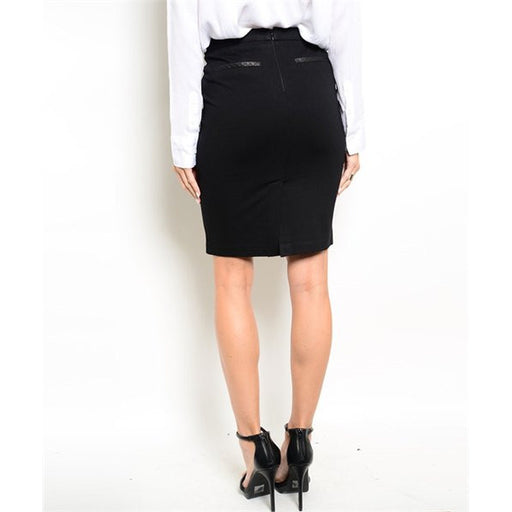 Women's Skirt Black Pencil With Leather Detail On Pockets - Alluforu