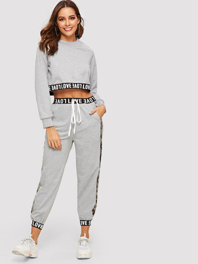 Letter Tape Crop Sweatshirt With Drawstring Sweatpants