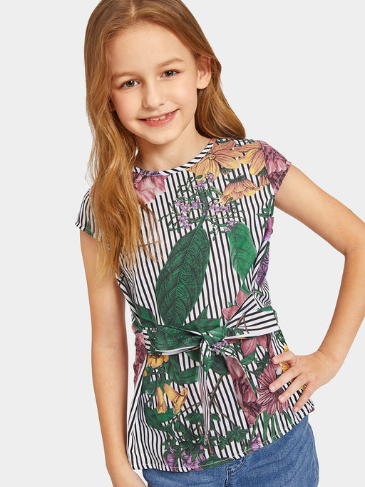 Girls Tie Waist Striped & Floral Top - Alluforu