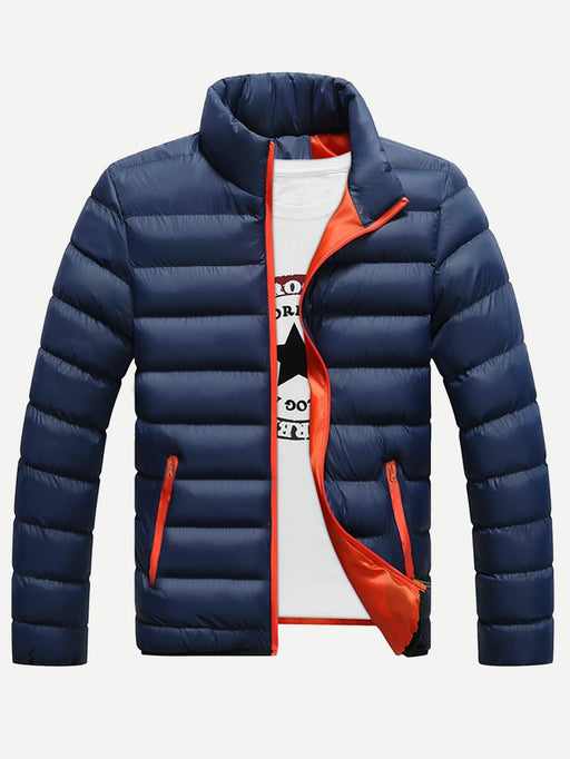 Men Stand Neck Solid Padded Coat - Alluforu