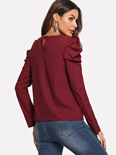 Keyhole Back Leg-of-mutton Sleeve Top